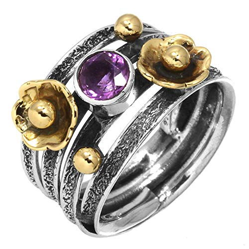 - Solid 925 Sterling Silver Two Tone Ring Natural Amethyst Gemstone Handmade Jewelry Size 7
