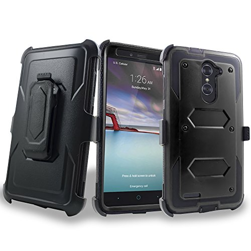 chcorp For ZTE [Max XL] (Virgin Mobile, Boost Mobile) w/ [Built-in Screen Protector] Heavy Duty Full-Body Rugged Holster Armor Case [Belt Swivel Clip][Kickstand] with Goodie ()
