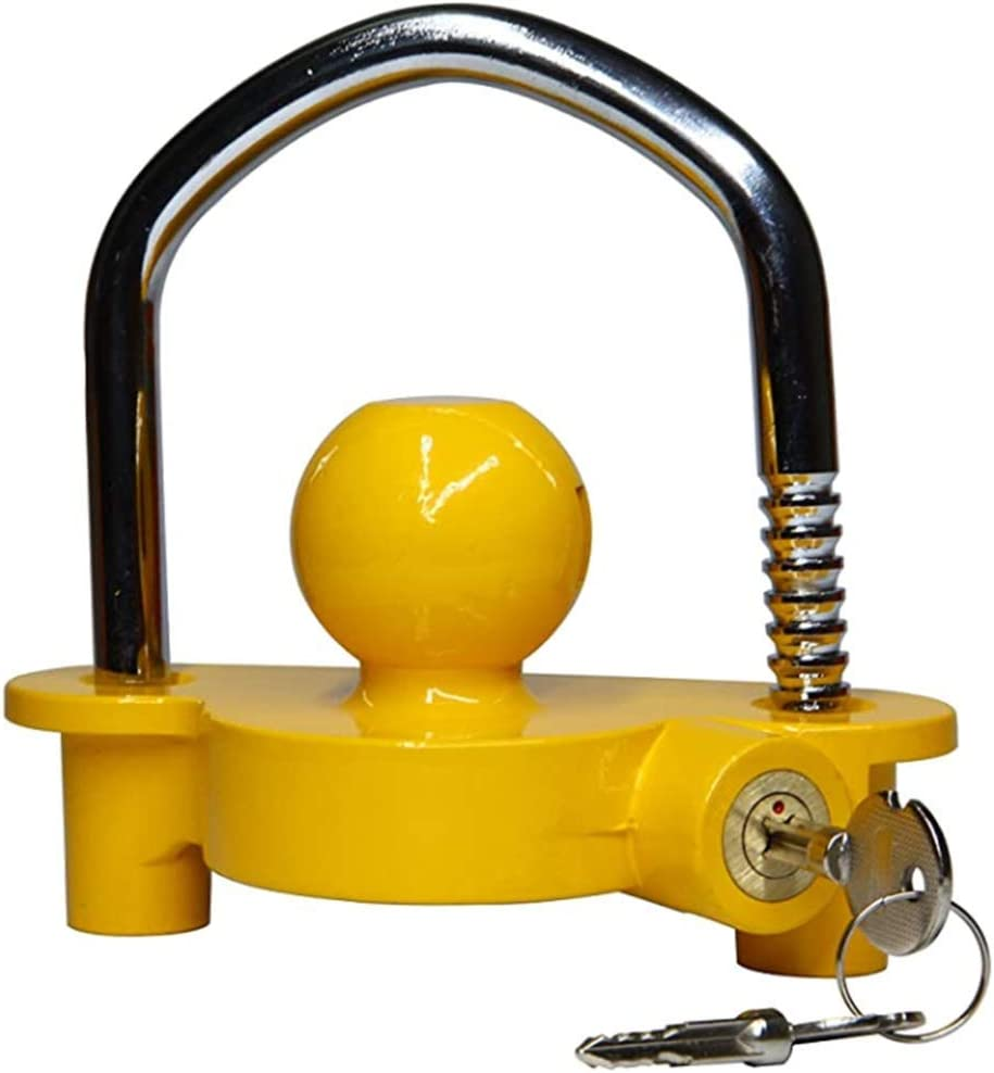 DEF Coupler Lock Hitch Trailer Lock with 2 Keys Heavy-Duty Steel Fits 1-7//8 2 and 2-5//16 Replaces#72783 Yellow and Chrome