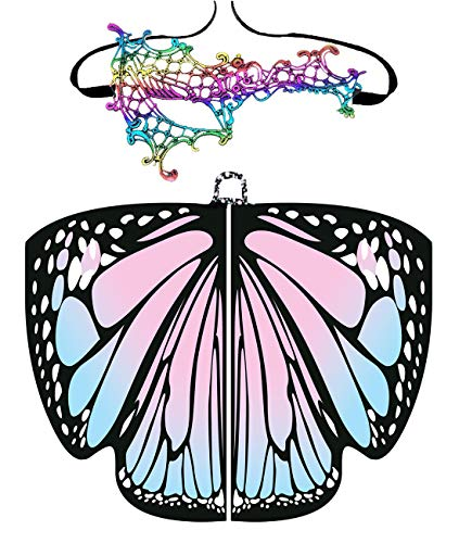 Halloween/Party Prop Soft Fabric Butterfly Wings Shawl Fairy Ladies Nymph Pixie Costume Accessory (168x135CM, Pink)