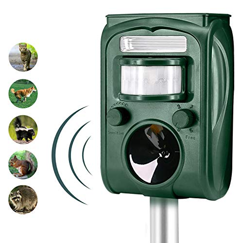 FAYINWBO Solar ultrasonic Outdoor Animal Repeller, Motion Activated Alarm and Flash, expel Raccoon, Rabbit, Birds, Squirrels, Cats, Dogs, etc. Protect The Lawn and Garden