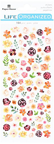 Flower Paper Stickers - Paper House Productions Flowers Stickers, Micro, 3-Pack