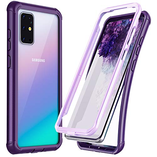 Temdan for Samsung Galaxy S20 Plus Case,Without Built-in Screen Protector Heavy Duty Protection Shockproof Slim Case for Samsung Galaxy S20 Plus 5G 6.7 inch 2020-Clear/Purple
