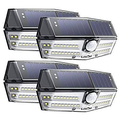 LITOM Premium 40 LED Solar Lights Outdoor, 3 Optional Modes Wireless Motion Sensor Light with 270° Wide Angle, IP67 Waterproof, Easy-to-Install Security Lights for Front Door, Yard, Garage, Deck