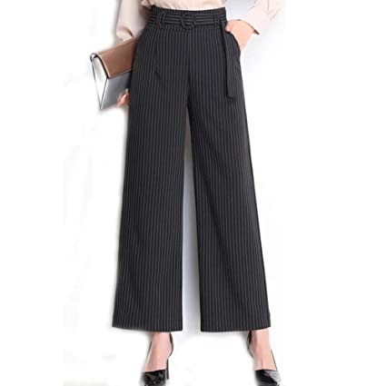 e6a4bdb594155f Amazon.com: HOQTUM Wide-Leg Pants Women's Spring and Summer high Waist  Loose Wild Striped Trousers White Black Ladies Casual Pants Distribution  Belt: Garden ...