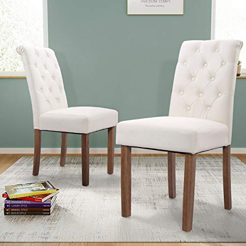 Luxurious-Padding, Curved High-Back Enhance, Set of 2 High Back Fabric Roll-Top Accent Dining Chairs with Rubber Wood Legs Great for Bedroom, Dining Room, Hallway, Kitchen, Utility Room, Living Room - Mahogany Chippendale Style Side Chair