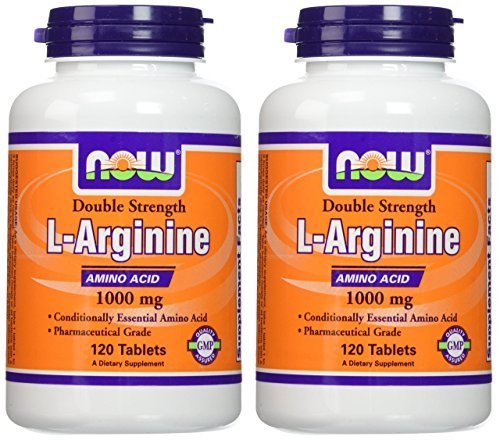 NOW Foods L-Arginine 1000mg, 120 Tablets (2 Pack)