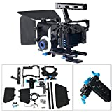 YaeCCC Video Stabilizer Kit 15mm Rod Rig Camera Cage+Follow Focus+Matte Box for Sony A7 (Blue)