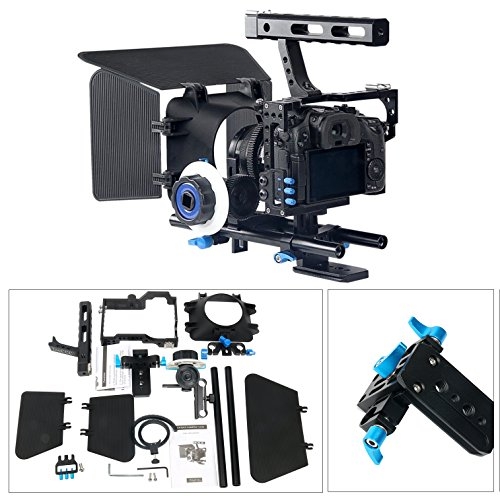 YaeCCC Video Stabilizer Kit 15mm Rod Rig Camera Cage+Follow Focus+Matte Box for Sony A7 (Blue) by YaeCCC