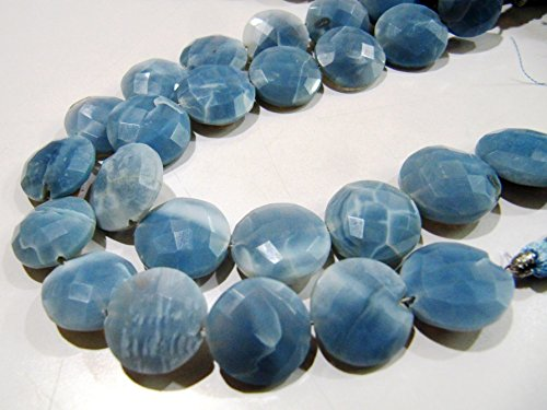Top and Finest Quality Faceted Coin Shape Beads / Bio Blue Opal Briolette Beads / 14-15 mm Size Beads / Strand 8 inch long / Gemstone Beads ()