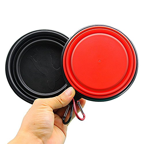 Collapsible Silicone Pet Bowls Foldable Expandable Cup Dish For Dog/Cat Food Water Feeding Portable Travel Bowl, Set of 2 Colors, Food Grade Silicone BPA Free FDA Approved (Black+Red)
