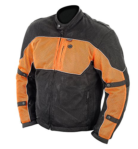 Brooks Leather Men's Textile Mesh Riding Jacket (Black/Orange, XXX-Large)