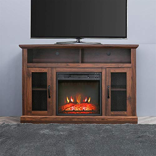 PatioFestival Fireplace TV Stand Electric fire Place heaters Entertainment Center Corner tv Console with fireplaces for TVs up to 42″ Wide, Espresso