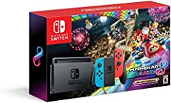 This bundle includes the Nintendo Switch console and Nintendo Switch dock in Black, with contrasting left and right Joy-Con controllers-one neon blue, One neon Red. It also includes all the extras you need to get started. Nintendo Switch with...