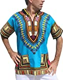 Full Funk Dashiki Light Hoody In Bright Colors Festival Party Shirt Short Sleeve, Medium, Dodger Blue