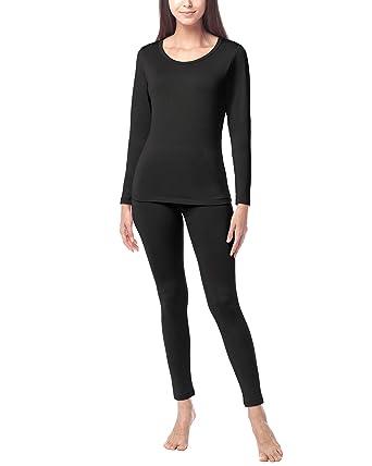 d8f1a9659424 LAPASA Women's Lightweight Thermal Underwear Long John Set Fleece Lined  Base Layer Top and Bottom L17
