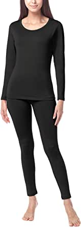LAPASA Set de Ropa Térmica Mujer Conjunto Térmico Ligero/Mid-Weight/Espeso Cuello Redondo Brushed Back Fabric L17/L41/L44