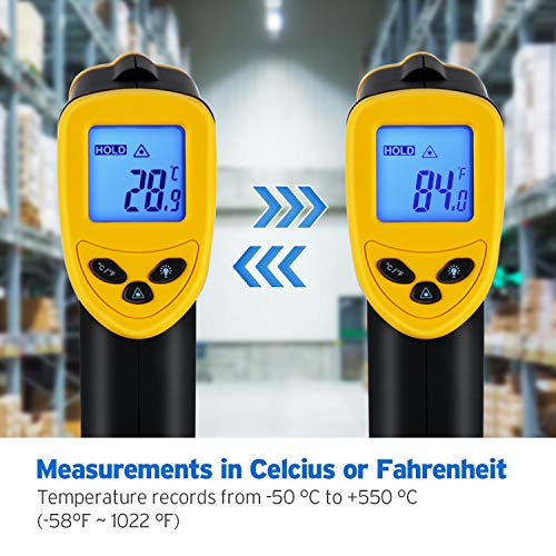 Etekcity Lasergrip 1080 Infrared Thermometer Non-Contact Digital LaserTemperature Gun -58℉~1022℉ (-50℃~550℃), Yellow and Black by Etekcity (Image #5)