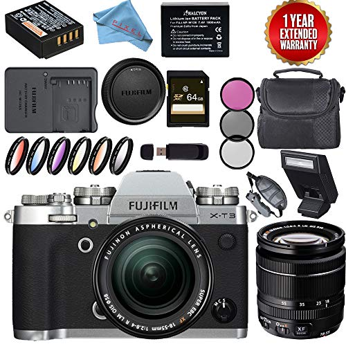 Fujifilm X-T3 Mirrorless Digital Camera XF 18-55mm Lens Silver Bundle