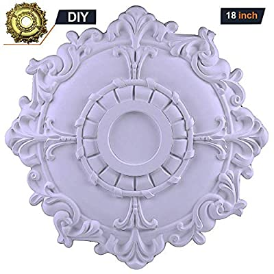 18 inch Riley Ceiling Medallions for Chandeliers Fan Light Fixtures Pedant Wall Large Polyurethane Ceiling Light Medallion Cover Plate White by Decor PU Moulding
