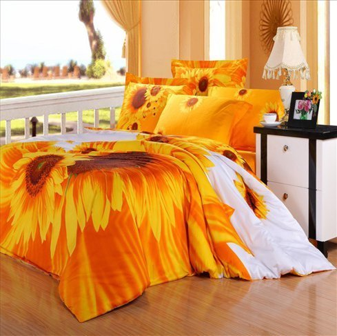 LELVA Yellow Sunflower Bedding Rural Floral Duvet Cover Queen Wedding Bedding Set Cotton Romantic Twill Active Print Bed Sheets 4Pcs