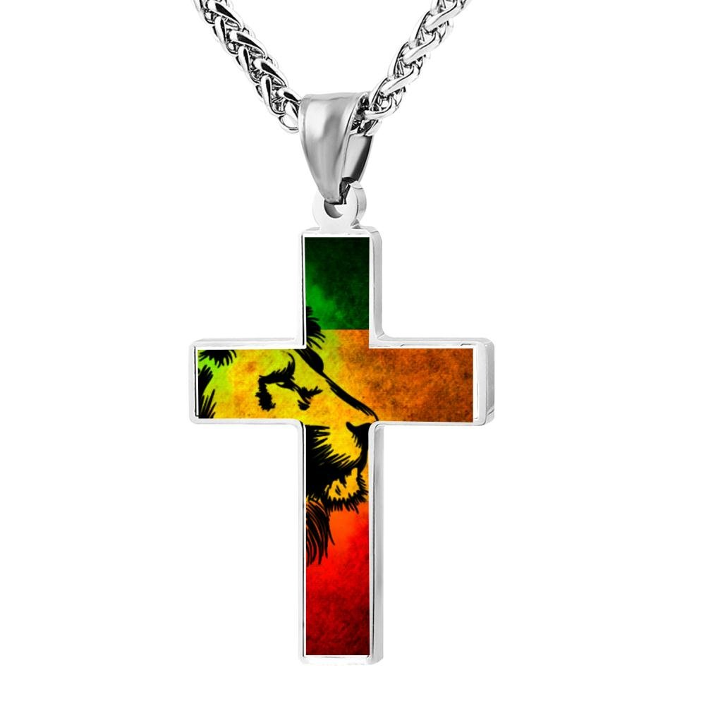 LUQeo Jamaica Rasta Lions Cross Necklace Christian Pendant Cool Lord Jewelry