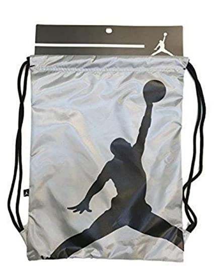 34f94755bd35 NIKE Air Jordan Illusion Hybrid Photo Real Drawstring Gymsack Backpack  Sport Bookbag Gear Tote (Chrome Metallic Silver Black Logo)  Amazon.in   Sports