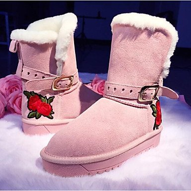 For UK5 Booties Boots Ankle Pink Leather Women'S Black US7 Flat Fashion Snow Winter Shoes 5 Heel Boots CN38 Gray Boots Boots Casual RTRY 5 EU38 Nappa Blushing qZwYSx7