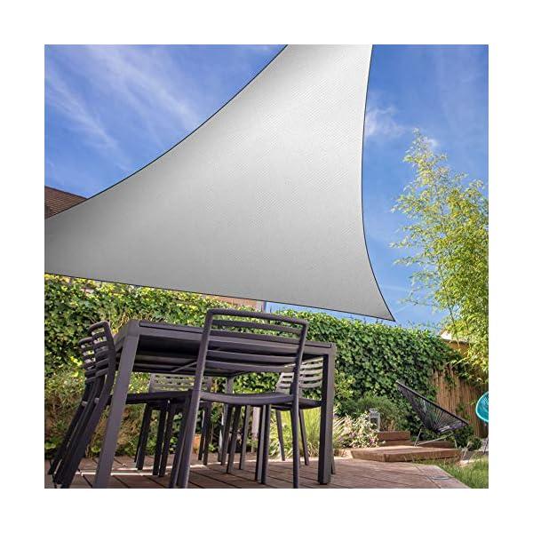 51 IOF7VoKL Molbory Sonnensegel Dreieckig mit Befestigungsseile 4x4x4 m, Sonnensegel Sonnenschutz UV Schutz Windschutz Wetterschutz…