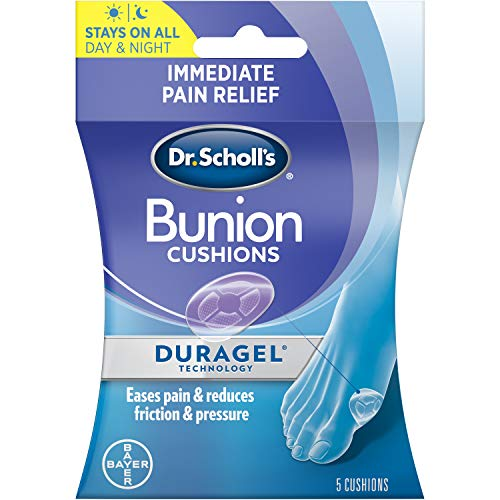 Dr. Scholl's BUNION Cushions with Duragel Technology, 5ct (One Size) // All-Day Cushioning Pain Relief, Protects from Shoe Friction & Pressure (Packaging May Vary)
