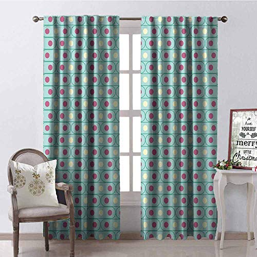 GloriaJohnson Geometric 99% Blackout Curtains Oval Shapes with Traditional Polka Dots Horizontal and Pale Toned Illustration for Bedroom Kindergarten Living Room W42 x L84 Inch Multicolor