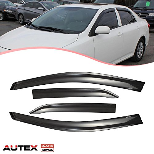 AUTEX 94073 Original Injection Window Deflectors for 2009 2010 2011 2012 2013 Toyota Corolla Vent Window Visor Rain Guard