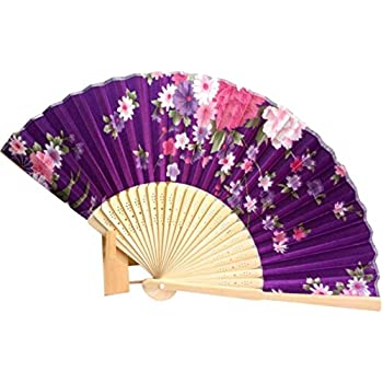 binmertm japanese cherry blossom folding hand dancing wedding party decor fan chinese fans purple - Decorative Fans