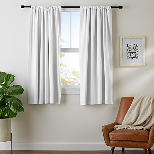 AmazonBasics Room Darkening Blackout Curtain Set with Tie Backs - 52