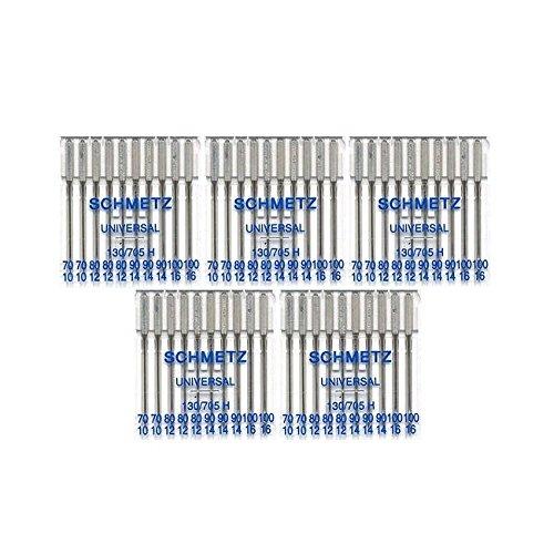 50 Schmetz Assorted Universal Sewing Machine Needles 130/705H 15x1H Sizes 70/10, 80/12, 90/14, 100/16 (Fine Machine Sewing)