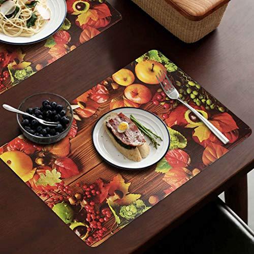 Swadesi E Shop PVC Reversible Printed Dining Table Mat Set (Size 11.5 x 17.5, Multi) Set of 6