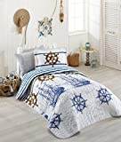 Bekata Marine, 100% Cotton Bed Cover Set, Single/Twin Size Bedspread/Quilt Set for All Season, Nautical Bedding Linens Vintage Ships and Helm Themed, Fitted Sheet Included, 4 PCS, Blue White