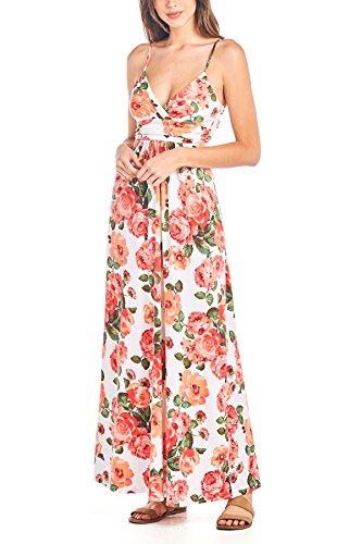 Beachcoco Women's Sweetheart Maxi Dress (L, White/Coral (Pink Camo Dress)