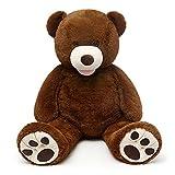 MorisMos Giant Teddy Bear with Big Footprints Big Teddy Bear Plush Stuffed Animals Dark Brown 51 inches (Color: Dark Brown, Tamaño: 51 inches)