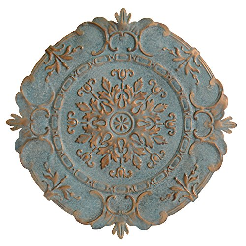 Stratton Home Decor Blue European Medallion Wall Decor, 30.50 W X 0.50 D X 30.50 H (Decor Metal Wall Medallion)