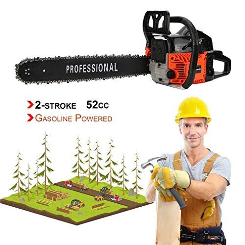 52CC Gas Chainsaw 18″ 2 Cycle Double Spring Automatic Chain Oiler Great Handbar Chainsaw (Orange&Black)