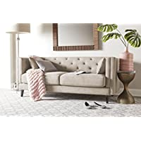 Elle Decor Celeste Tufted Sofa, Chenille, Ivory