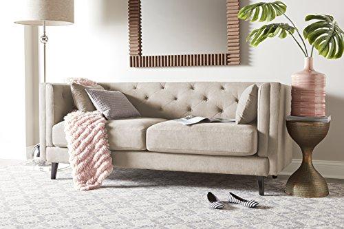 Elle Decor Celeste Tufted Sofa, Chenille, Ivory