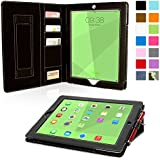 iPad 4 and 3 Case, Snugg Executive Black Leather Smart Case Cover Apple iPad 4 and 3 Protective Flip Stand Cover With Auto Wake/Sleep