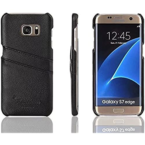Galaxy S7 Edge Card Case, ZJtech Synthetic Leather Wallet Case, Ultra Slim Snap On Cover with Card Slots for Samsung Galaxy S7 Edge (Black) Sales