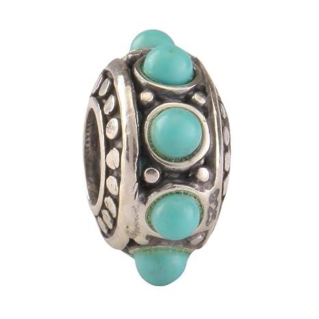 71c42f9c25fd1 Sterling Silver Charm Flower Turquoise Charm Bead fits All Charm Bracelets  Women Girls Birthday Gifts EC7