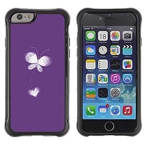Suave TPU Caso Carcasa de Caucho Funda para Apple Iphone 6 PLUS 5.5 / Flower Heart Love Freedom White Minimalist / STRONG