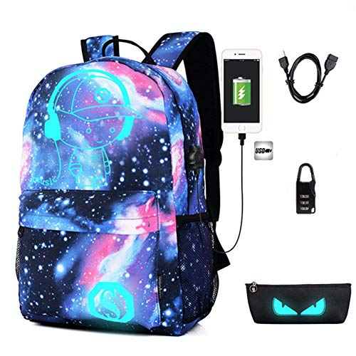 Galaxy Backpack, Anime Luminous Anti-Theft Rucksack, Laptop Backpack with USB Charging Port, Unisex 15.6 Inch College Daypack, Starry -