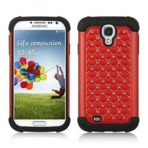 Mocase Samsung Galaxy S4 Iv I9500 Bling Rhinestone Hybrid Rubber Case (Red+black)