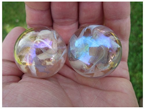 2 BOULDERS 35mm PINK FAIRY Marbles glass ball jellyfish iridescent Giant LARGE ()